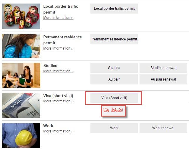 حدد نوع التأشيرة المطلوبة