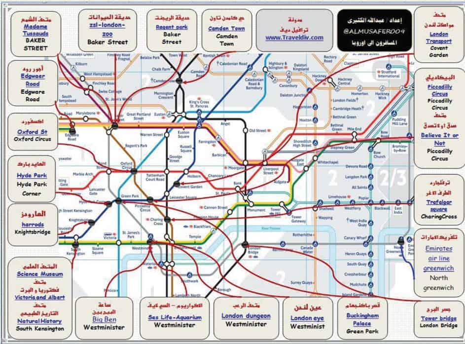 خريطة مترو لندن بالعربي