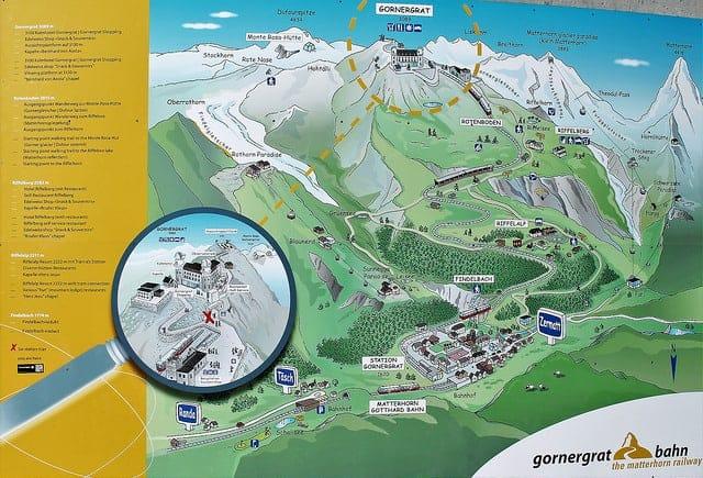 خريطة توضح الصعود لقمة جورنيرجارت بالقطار المسنن