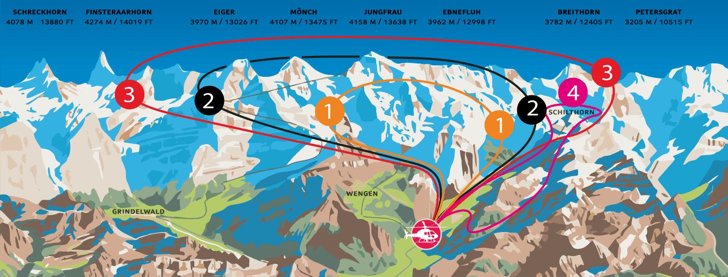 خريطة الجولة بالهيلكوبتر و القمم التي سوف تمرون فوقها
