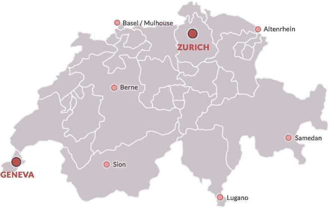 خارطة مطارات سويسرا