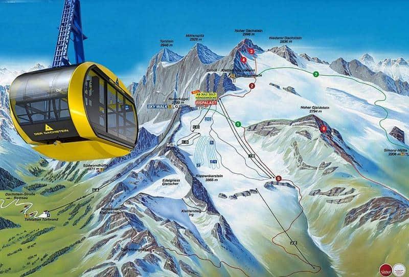 التلفريك البانورامي يعبر فوق جبال الثلج
