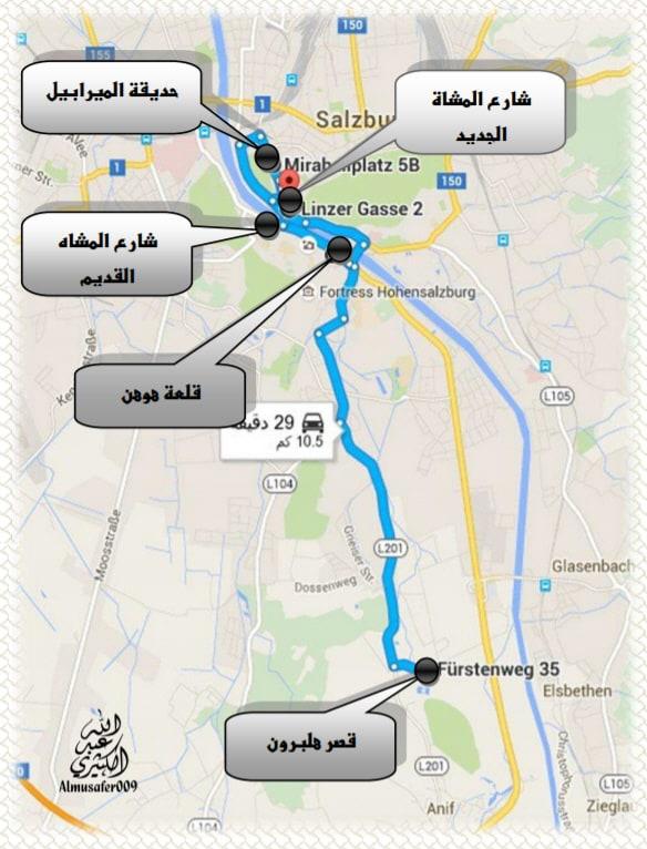 خريطة تظهر الطريق من شارع المشاة الجديد إلى قصر هلبورن