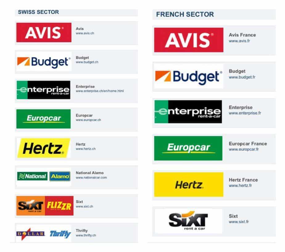 شعارات شركات تأجير السيارات في القسمين السويسري و الفرنسي