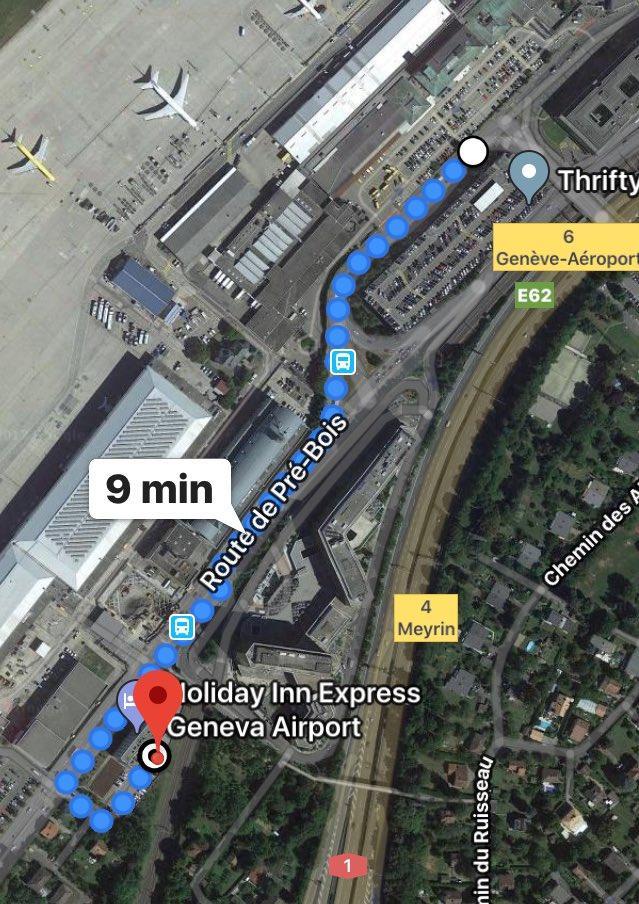 المسار من فندق هوليداي إلى مطار جنيف