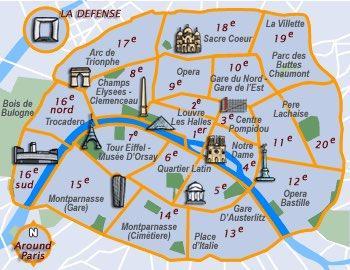 خريطة معالم باريس السياحية
