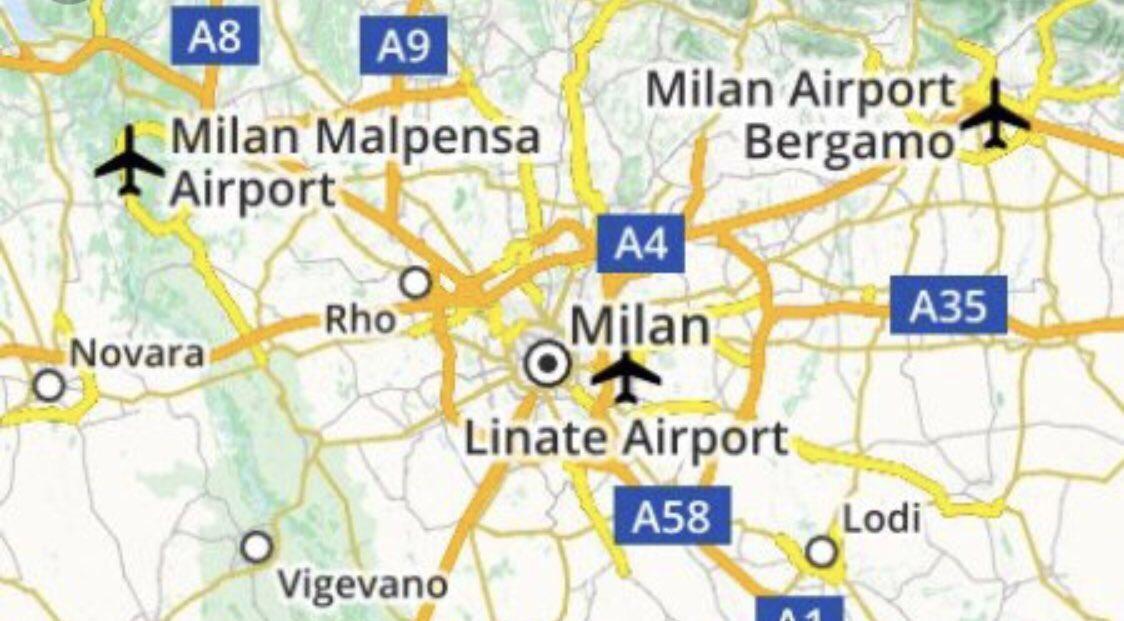 خريطة تظهر مطارات أوروبا